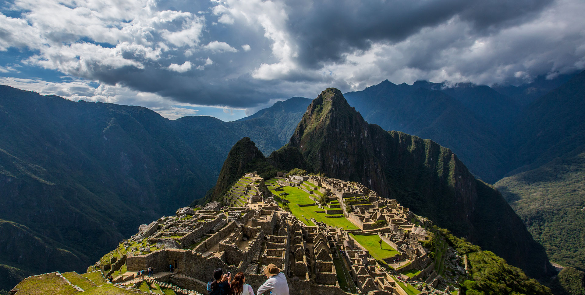 Huayna Picchu Mountain and Machu Picchu Citadel from the distance