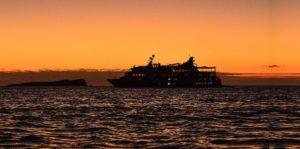 Santa Cruz II Galapagos Cruise sailing during sunset