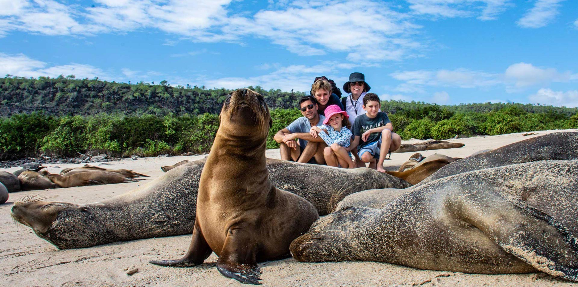 Family enjoying their tour in the Galapagos Islands