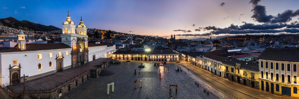 Plaza de San Francisco and Church and Convent of San Francisco at night, Old City of Quito, Ecuador, South America