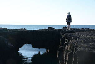 Egas Bay at Santiago Island in Galapagos