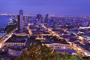 Guayaquil City in Ecuador at night
