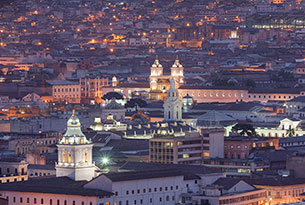 Quito's Old Town at night