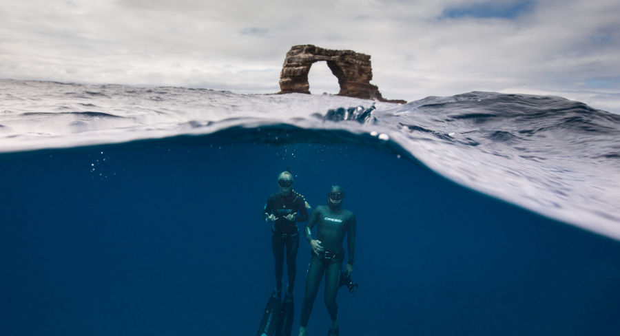 SCUBA diving by Darwin's Arch in the Galapagos
