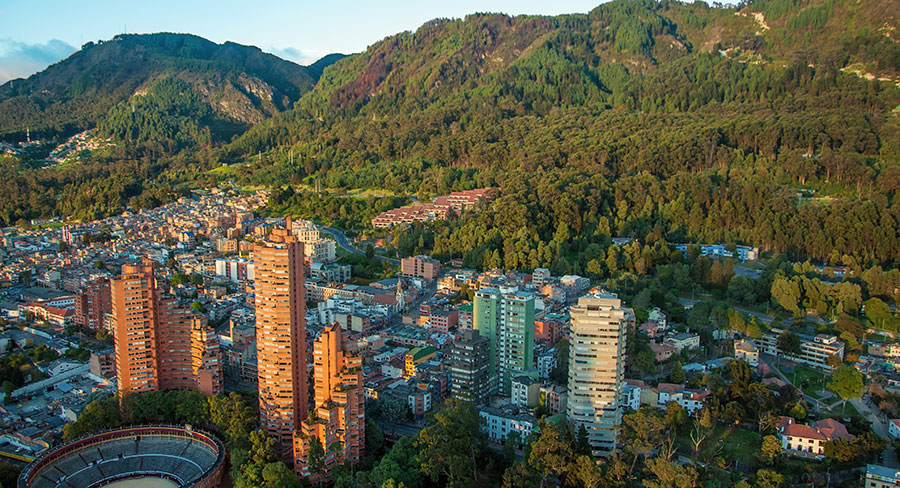 City of Bogota with the Andes Mountains in the background