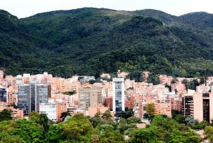 Bogota City Skyline and Mountains