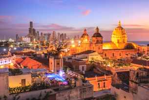 City skyline of Cartagena, Colombia at dusk