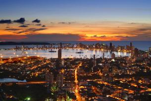 Cartagena City skyline at sunset