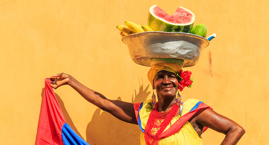Traditional Palenquera Dress in Cartagena, Colombia