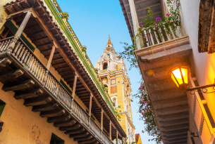Cartagena streets and rooftops from below