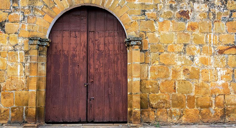 Colonial door in Colombia