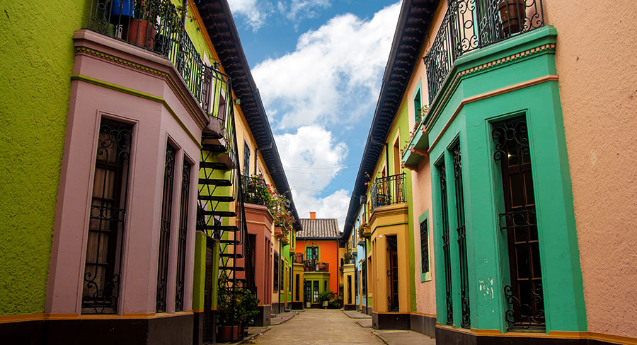 Colorful historic walls in Bogota, Colombia
