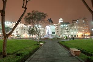 Plaza in Lima, Peru at night