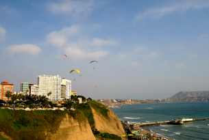 The coastline of Lima, Peru