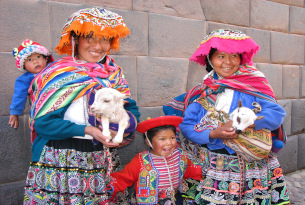 Peru locals with traditional dress