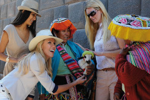 Locals in Peru with traditional dress