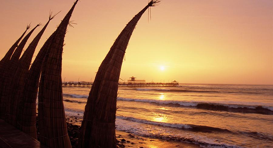 Sunset over Trujillo Beach in Peru