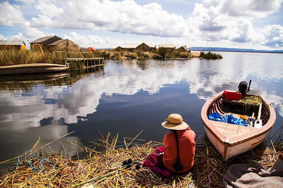 Comunidad en Lago Titicaca, Perú