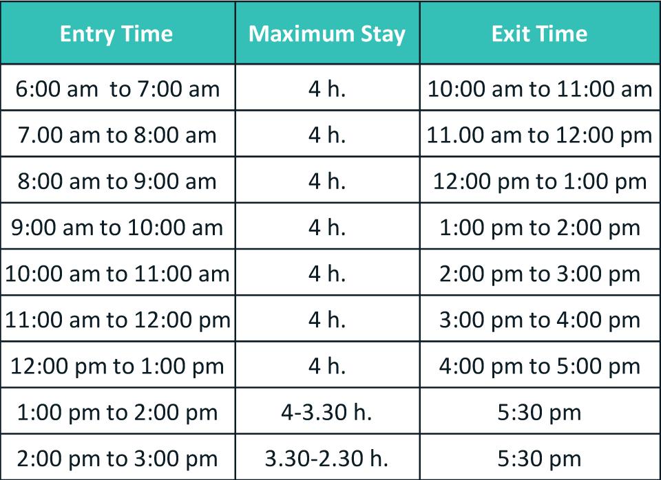 Entrance times to Machu Picchu