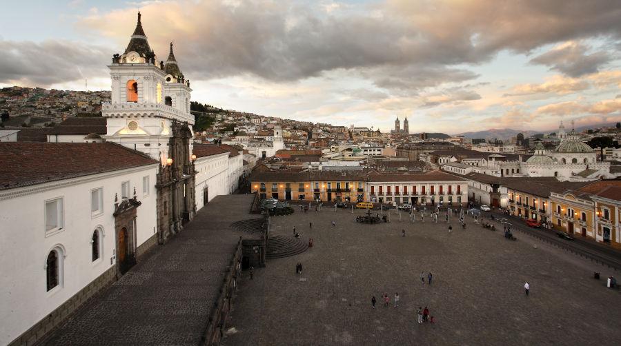 San Francisco plaza during the evening time, Quito, Ecuador