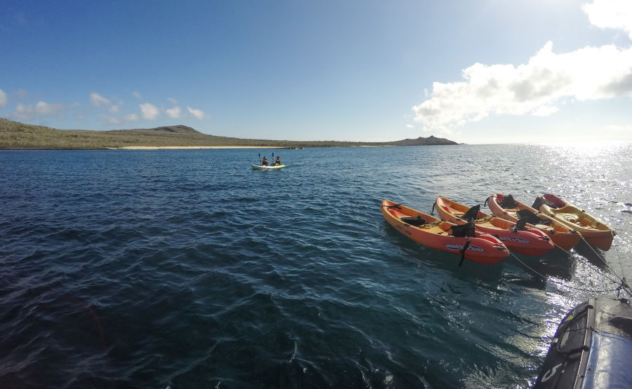 Multiple kayaks are available for exploration of the Galapagos