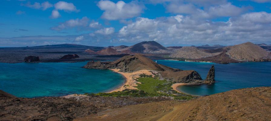 A view of Pinnacle Rock in Bartolome Island, Galapagos