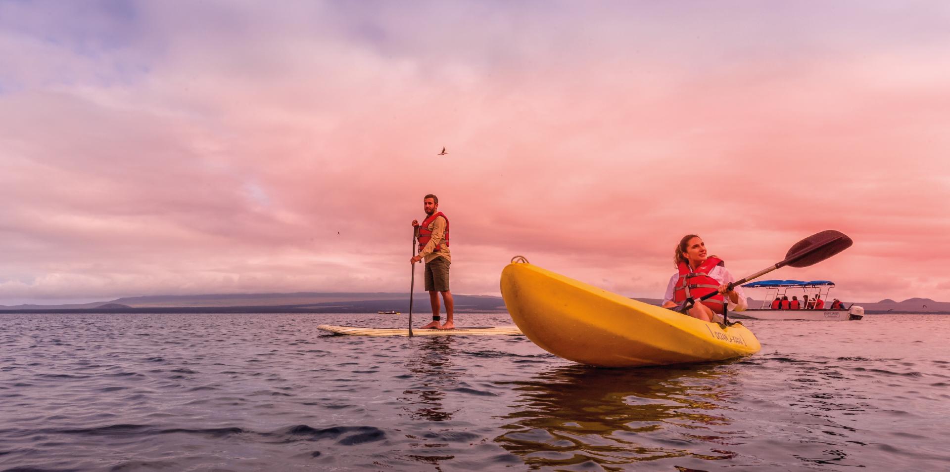 Paddleboarding and kayaking in the Galapagos Islands