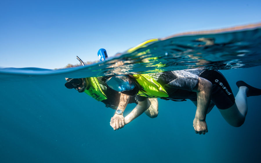 Couple holds hands while snorkeling in the Galapagos