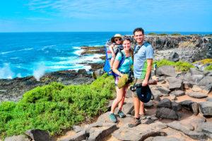 Family exploring Española Island, Galapagos