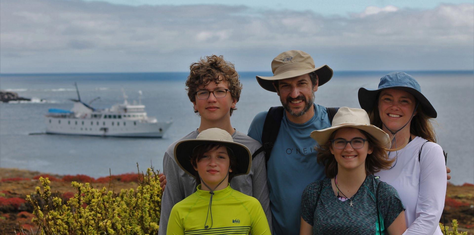 Family enjoying their visit to the Galapagos Islands