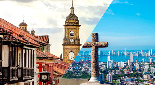 The colonial center monument in Cartagena and Bogota, Colombia