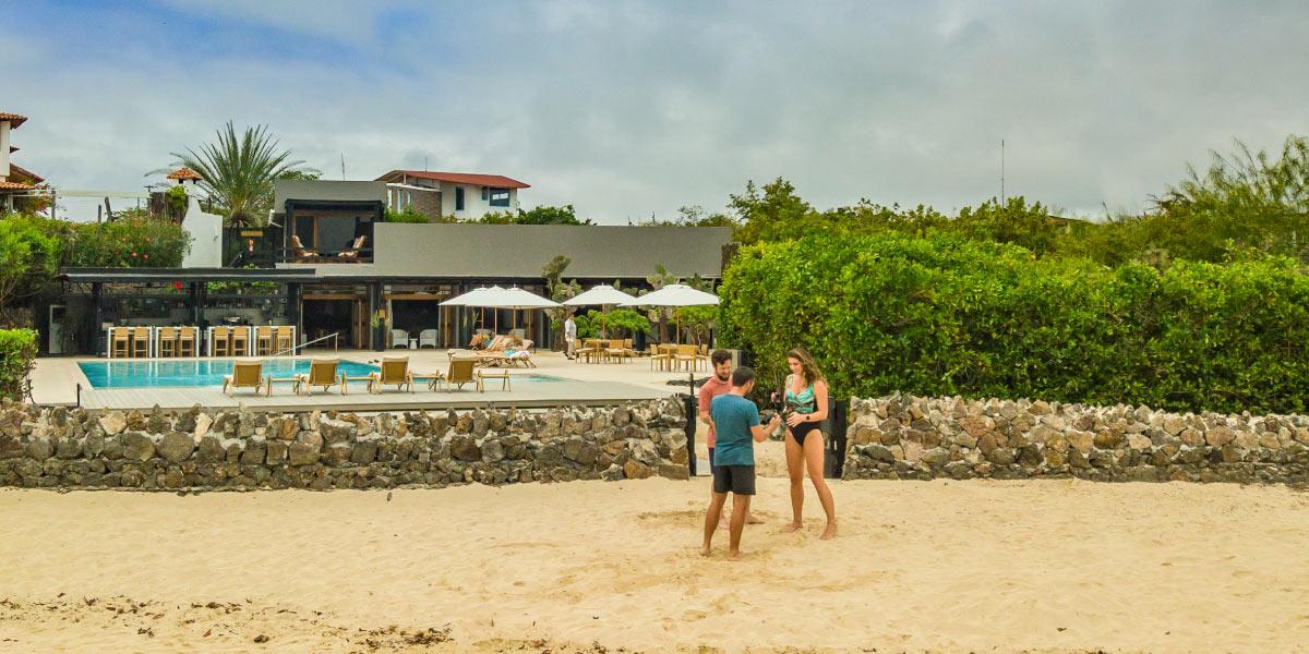 Beach entrance to Finch Bay Galapagos Hotel