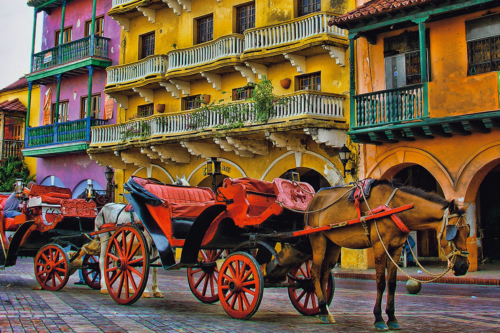 Horse-pulled carriages in Colombia