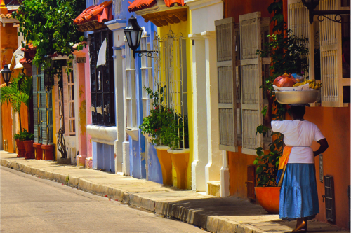 Woman in the streets of Cartagena, Colombia