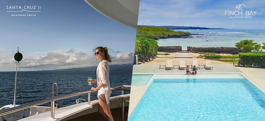 Nuestros barco y hotel de expedición en Galápagos: Santa Cruz II y Finch Bay Hotel