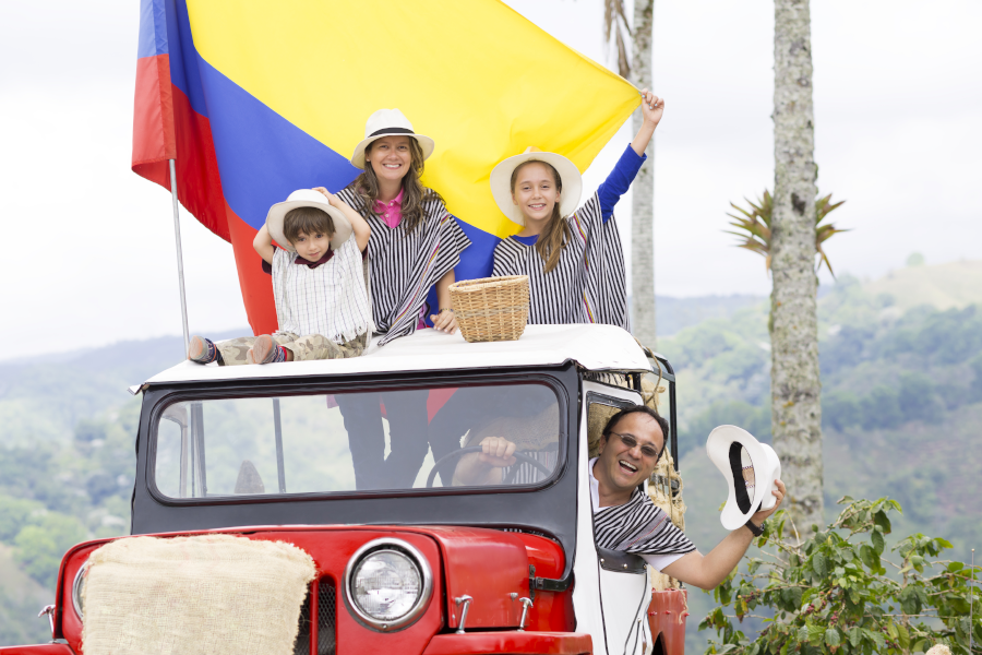 Family visiting the Coffee Triangle Region in Colombia